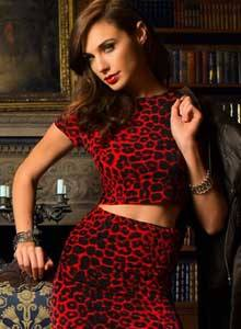 Bangalore Escort in red velvet dress with lion print